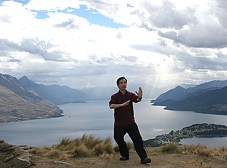 Dr Lam at New Zealand - tai chi posture of playing the lute